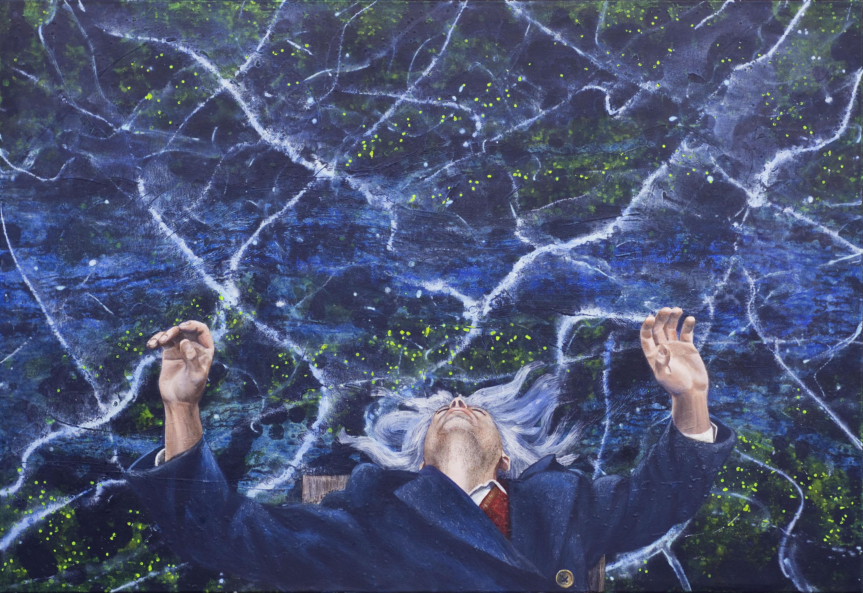 Gerhard Knell Landschaftsvisionen Landschaft Malerei Kunst Gemälde Acryl figürlich realistisch Großformatige Acrylmalerei Editionen Fine Art Prints blau Steg Hände schlafen Mantel Knopf Graue Haare Wasser Kruzifix Ausserkörperliche Wahrnehmung