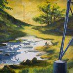 Gerhard Knell Landschaftsvisionen Landschaft Malerei Kunst Gemälde Acryl figürlich realistisch Großformatige Acrylmalerei Editionen Fine Art Prints grün gelb Strommast Atomkraftwerk Bach romantisch realistisch