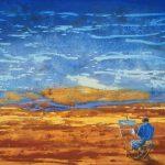 Gerhard Knell Landschaftsvisionen Landschaft Malerei Kunst Gemälde Acryl figürlich realistisch Großformatige Acrylmalerei Editionen Fine Art Prints blau orange Maler Staffelei