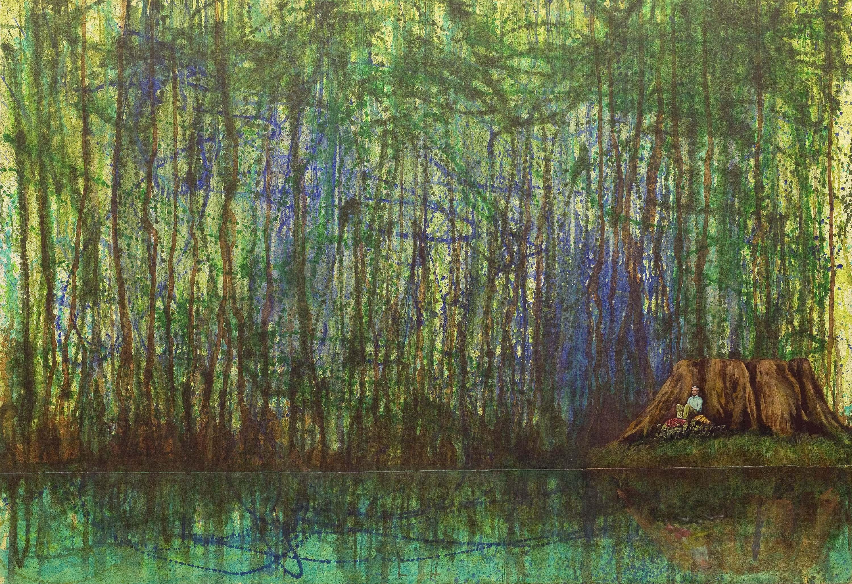 Gerhard Knell Landschaftsvisionen Landschaft Malerei Kunst Gemälde Acryl figürlich realistisch Großformatige Acrylmalerei Editionen Fine Art Prints grün blau braun Mann sitzend Baumstumpf Wildnis Wasser einsam Wald ausruhen Jackson Pollock