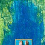 Gerhard Knell Landschaftsvisionen Landschaft Malerei Kunst Gemälde Acryl figürlich realistisch Großformatige Acrylmalerei Editionen Fine Art Prints grün blau orange Steg Mann Füße Sprungbrett Wasser Höhe hoch Tiefe Absprung springen
