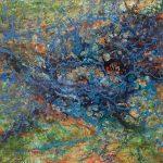 Gerhard Knell Landschaftsvisionen Landschaft Malerei Kunst Gemälde Acryl figürlich realistisch Großformatige Acrylmalerei Editionen Fine Art Prints grün blau orange Luftbild Vogelperspektive abstrakt Action Painting Wasseradern