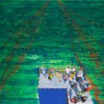 Gerhard Knell Landschaftsvisionen Landschaft Malerei Kunst Gemälde Acryl figürlich realistisch Großformatige Acrylmalerei Editionen Fine Art Prints grün blau Menschen warten Leute Ankunft Gruppe Geländer Kai Ausflug