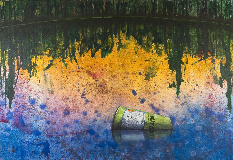 Gerhard Knell Landschaftsvisionen Landschaft Malerei Kunst Gemälde Acryl figürlich realistisch Großformatige Acrylmalerei Editionen Fine Art Prints grün orange Giftmüll illegal Entsorgung Umweltverschmutzung Chemie